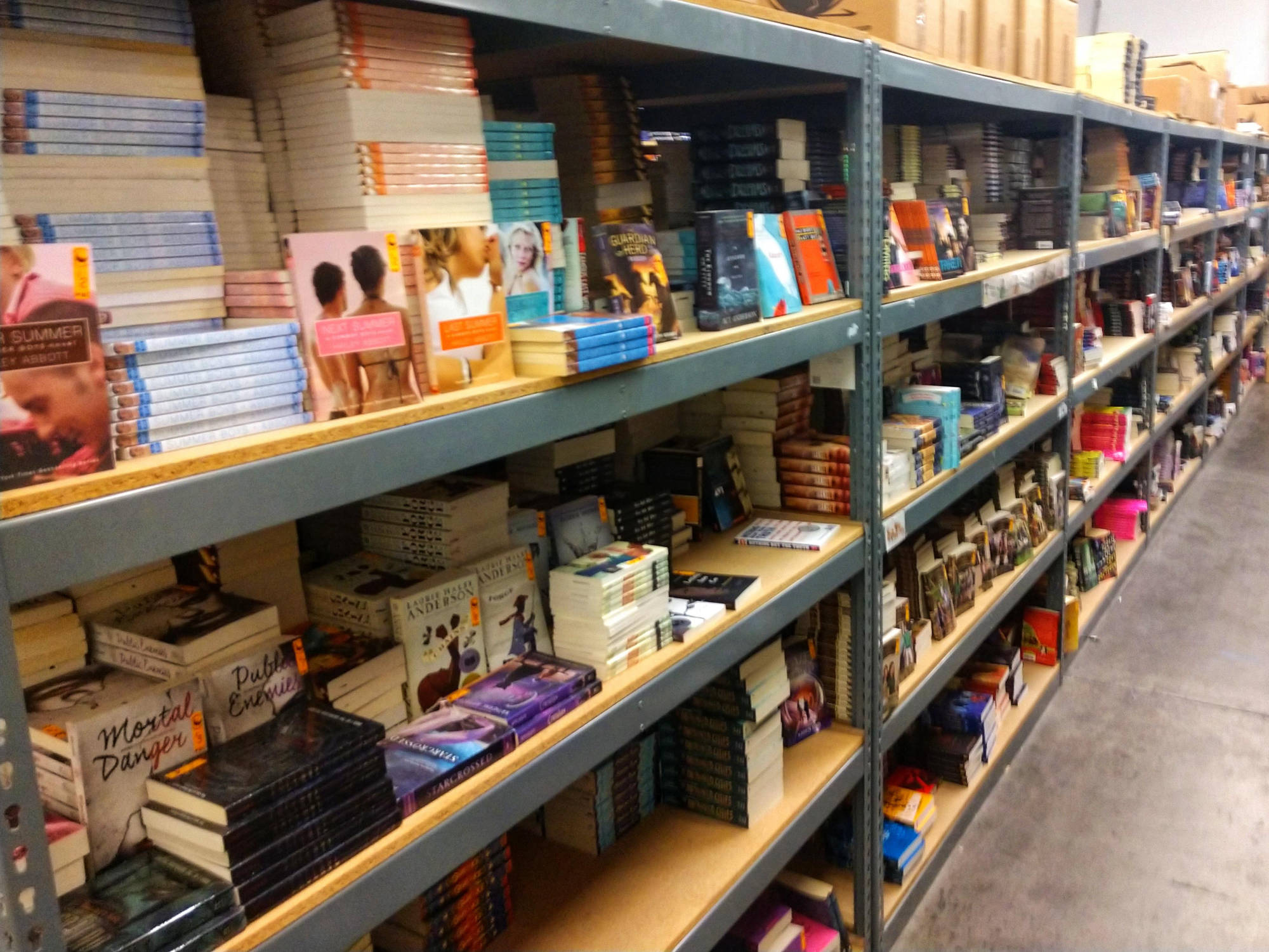 long row of warehouse shelves full of chapter books