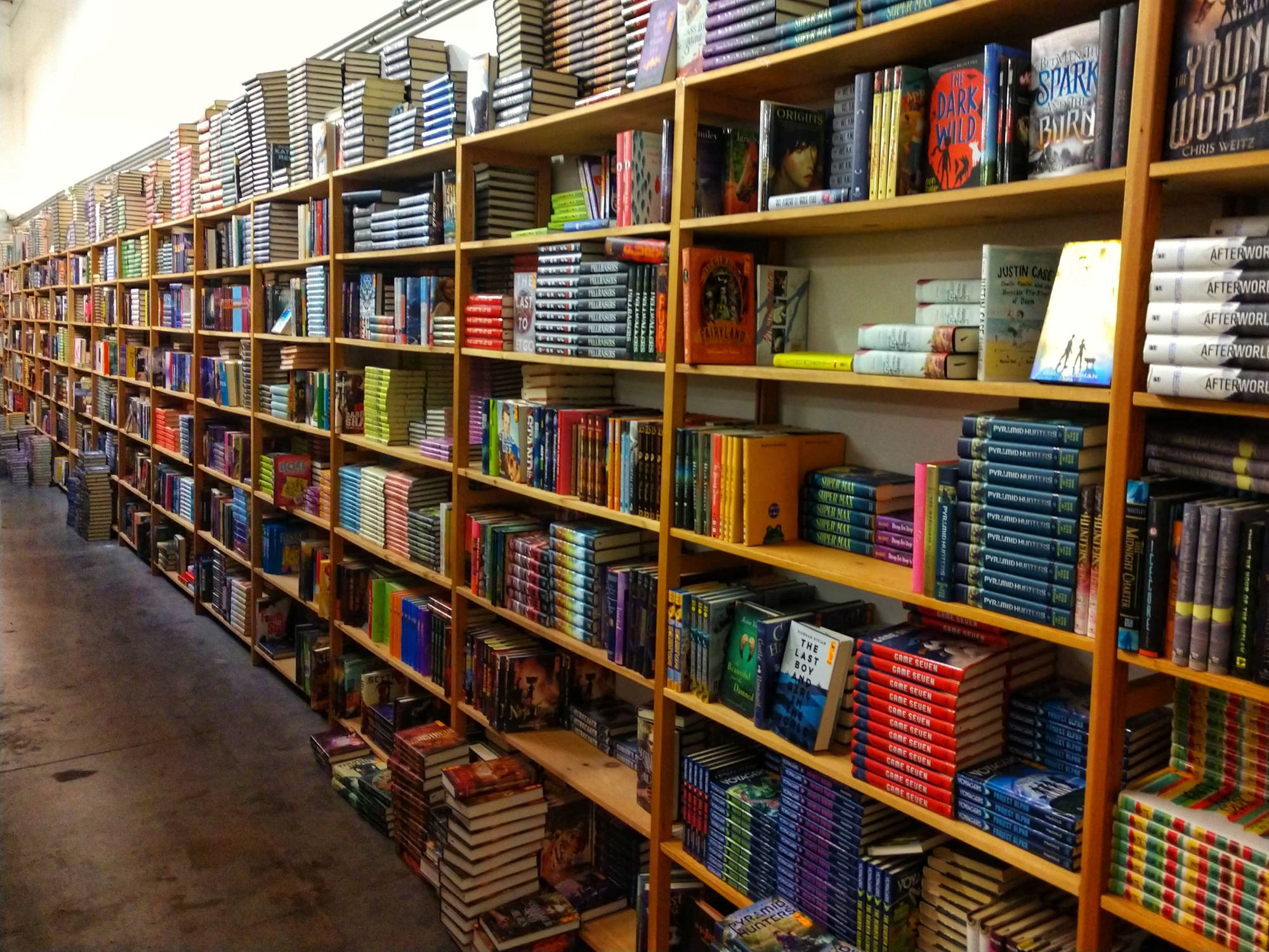 Wall of Hardback Fiction Bookshelves